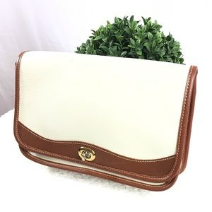 Vintage White & Brown Full Grain Leather Clutch